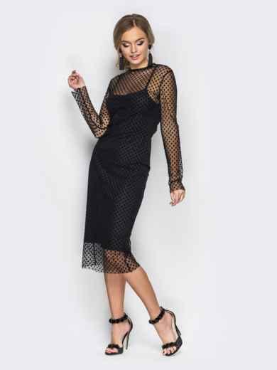 Платье-комбинация черного цвета с фактурным фатином - 17764, фото 2 – интернет-магазин Dressa