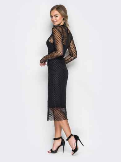 Платье-комбинация черного цвета с фактурным фатином - 17764, фото 3 – интернет-магазин Dressa