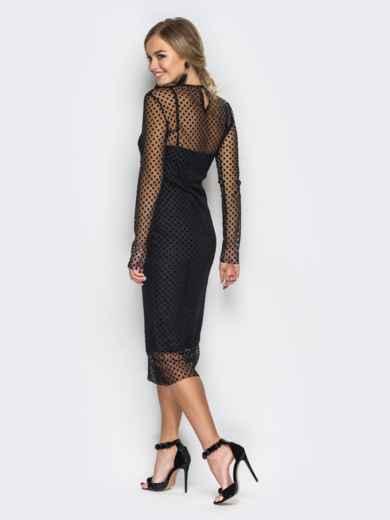 Платье-комбинация черного цвета с фактурным фатином - 17764, фото 4 – интернет-магазин Dressa
