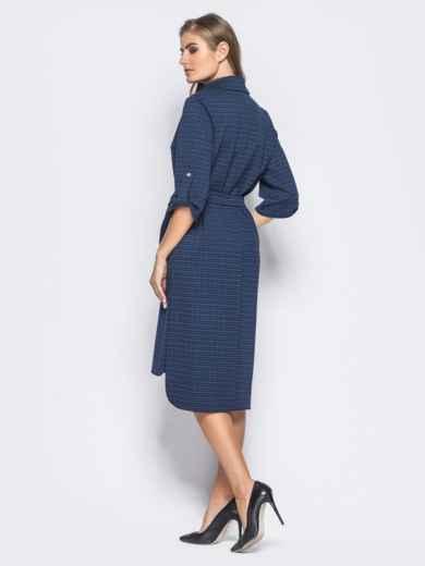 Платье-рубашка со шлёвками на рукавах в тёмно-синюю клетку 16443, фото 2