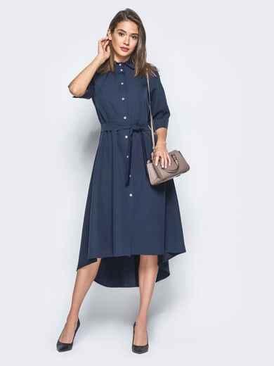Платье-рубашка тёмно-синего цвета со шлейфом - 16445, фото 1 – интернет-магазин Dressa