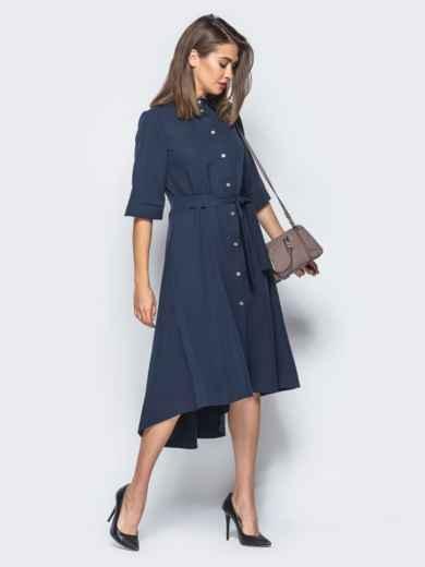 Платье-рубашка тёмно-синего цвета со шлейфом - 16445, фото 2 – интернет-магазин Dressa