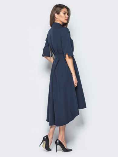 Платье-рубашка тёмно-синего цвета со шлейфом - 16445, фото 3 – интернет-магазин Dressa