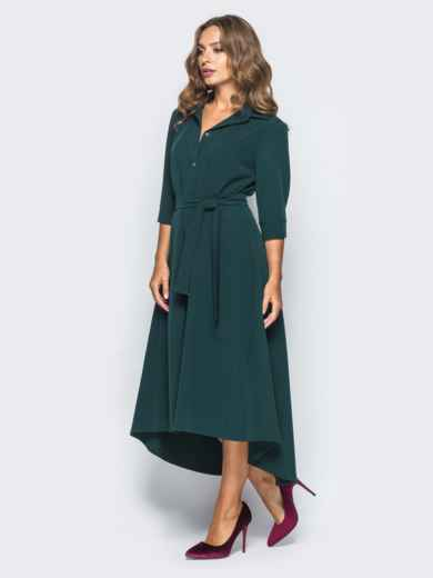 Платье-рубашка тёмно-зелёного цвета со шлейфом - 16447, фото 2 – интернет-магазин Dressa