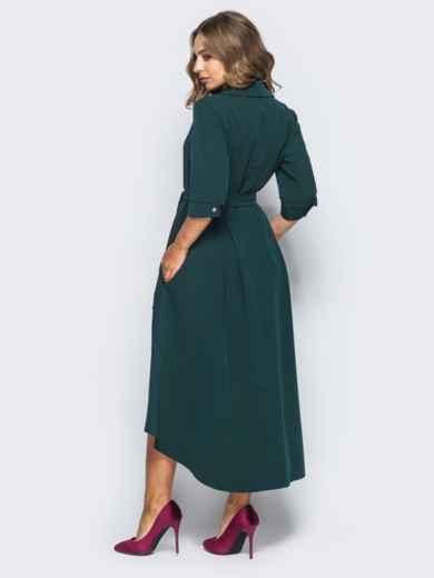 Платье-рубашка тёмно-зелёного цвета со шлейфом - 16447, фото 3 – интернет-магазин Dressa