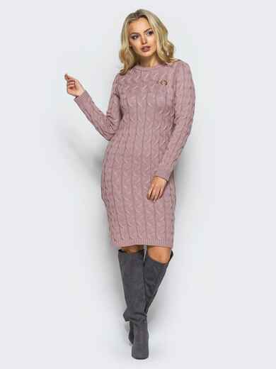 Розовое вязаное платье с фурнитурой на полочке 15912, фото 1