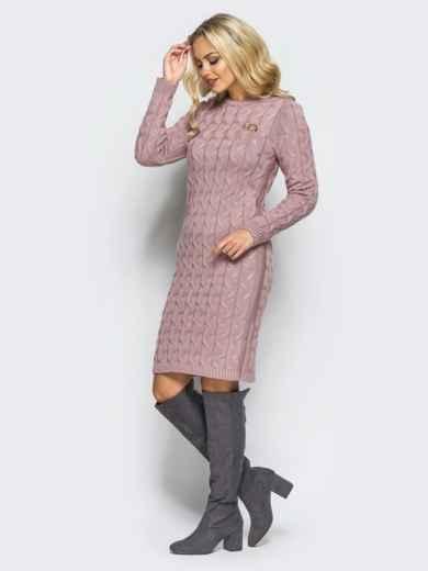 Розовое вязаное платье с фурнитурой на полочке - 15912, фото 2 – интернет-магазин Dressa