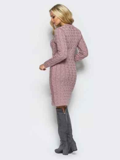 Розовое вязаное платье с фурнитурой на полочке - 15912, фото 3 – интернет-магазин Dressa