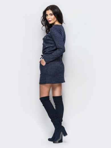 Тёмно-синее трикотажное платье с кулиской - 13471, фото 2 – интернет-магазин Dressa