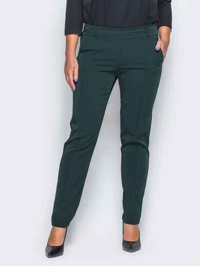 Темно-зелёные женские брюки со стрелками - 16612, фото 1 – интернет-магазин Dressa
