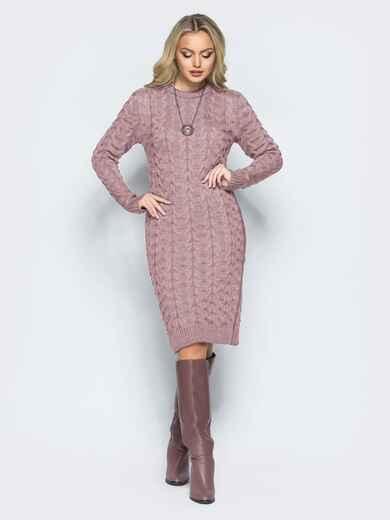 """Вязаное платье с объемным узором """"коса"""" пудровое 16111, фото 1"""