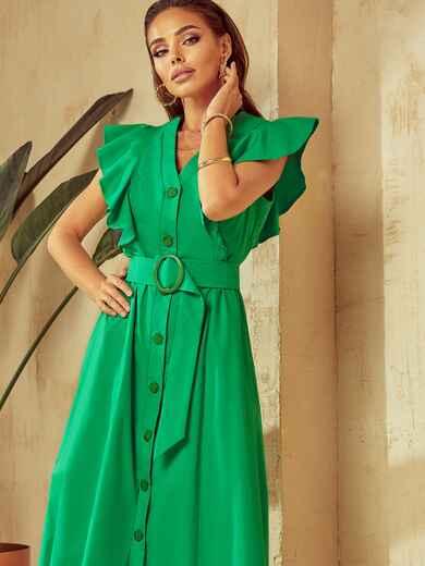 Зелене плаття з оборками та планкою з ґудзиками по довжині 53925, фото 1