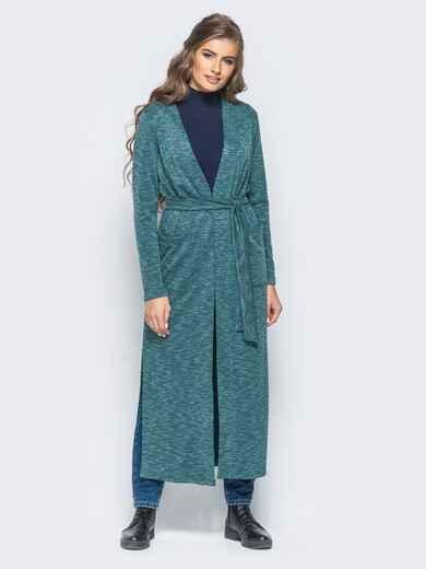 Зелёный кардиган с разрезами по бокам и накладными карманами - 16338, фото 1 – интернет-магазин Dressa