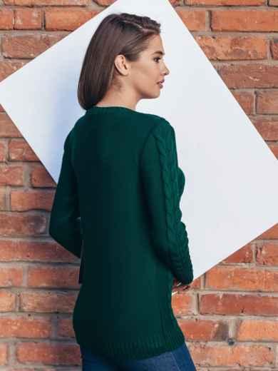 """Зелёный свитер ажурной вязки с узором """"косы"""" - 15974, фото 2 – интернет-магазин Dressa"""