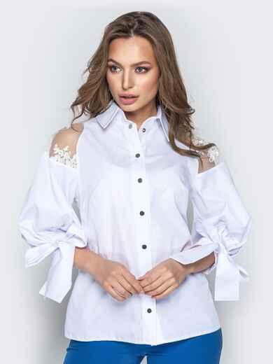 Белая блузка с объемными рукавами на завязках - 20750, фото 1 – интернет-магазин Dressa