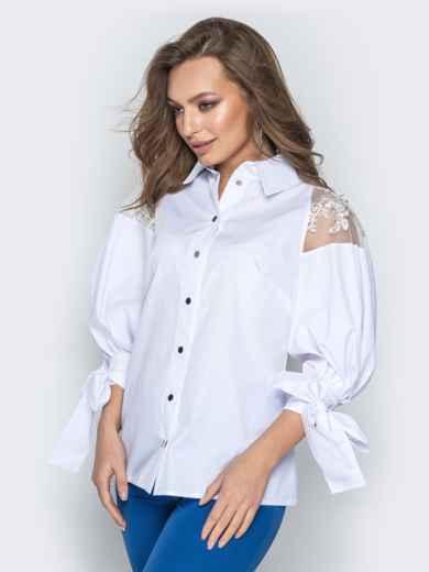 Белая блузка с объемными рукавами на завязках - 20750, фото 2 – интернет-магазин Dressa