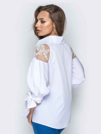Белая блузка с объемными рукавами на завязках - 20750, фото 3 – интернет-магазин Dressa