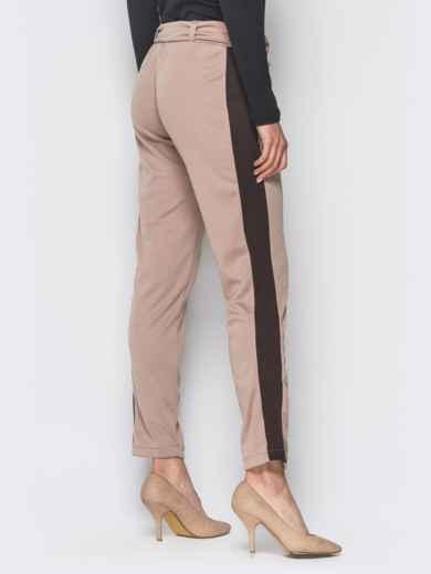 Бежевые трикотажные брюки с коричневыми лампасами - 18881, фото 3 – интернет-магазин Dressa
