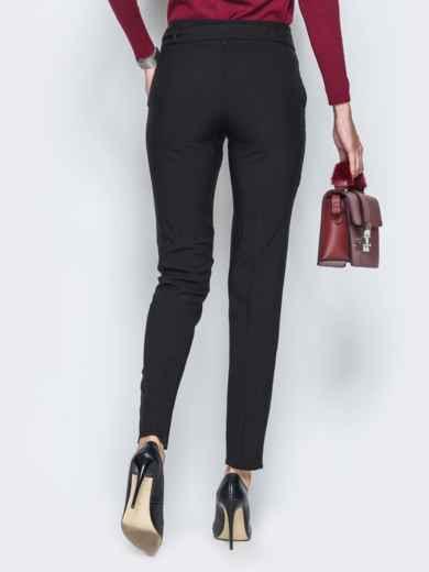 Брюки черного цвета на флисе с поясом в комплекте - 17741, фото 2 – интернет-магазин Dressa