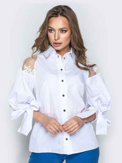 Белая блузка с объемными рукавами на завязках 20750, фото 1
