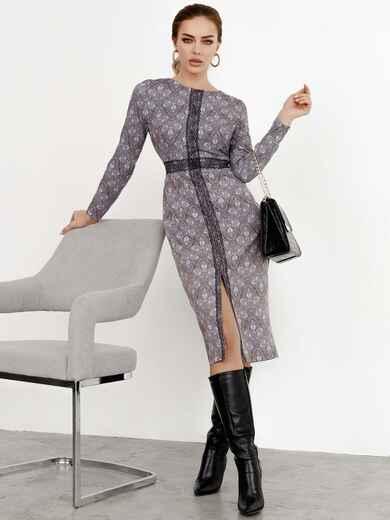 Коричневое платье-футляр с принтом и кружевом 52361, фото 1