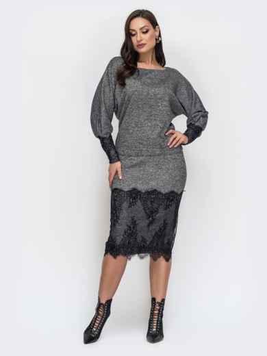 Серый комплект большого размера с кружевом по низу юбки - 44492, фото 1 – интернет-магазин Dressa
