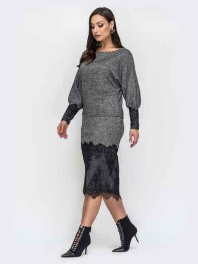 Серый комплект большого размера с кружевом по низу юбки - 44492, фото 2 – интернет-магазин Dressa