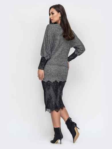 Серый комплект большого размера с кружевом по низу юбки - 44492, фото 3 – интернет-магазин Dressa