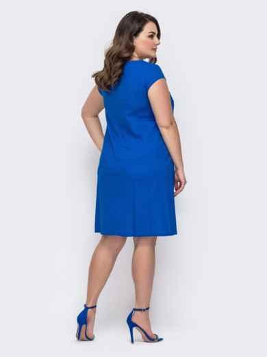 Синее платье батал ажурной кокеткой 46413, фото 2