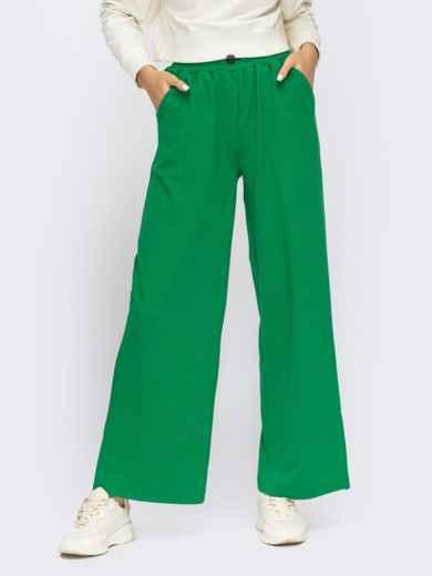 Зелені штани в спортивному стилі з розрізами з боків  55091, фото 2