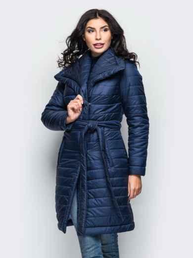 Зимняя куртка тёмно-синего цвета с отложным воротником 15244, фото 2