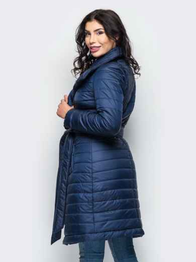 Зимняя куртка тёмно-синего цвета с отложным воротником 15244, фото 3
