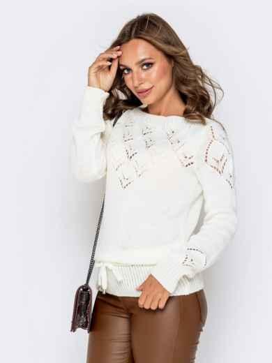 Ажурный свитер с кулиской по низу молочный - 41164, фото 2 – интернет-магазин Dressa