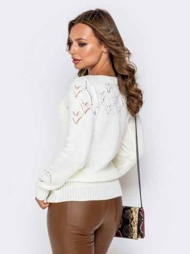 Ажурный свитер с кулиской по низу молочный - 41164, фото 3 – интернет-магазин Dressa