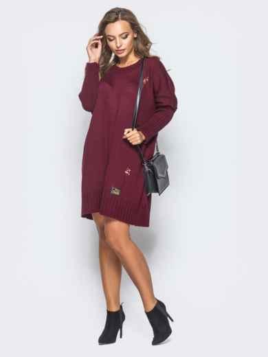 Бордовое вязаное платье с перфорацией и резинкой на рукавах - 17077, фото 3 – интернет-магазин Dressa