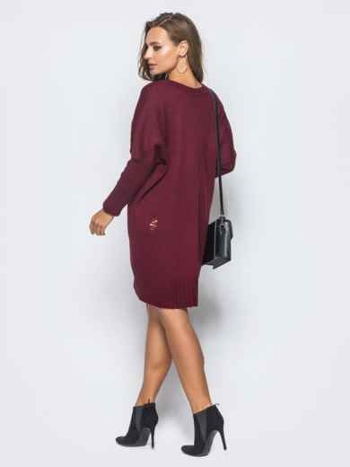 Бордовое вязаное платье с перфорацией и резинкой на рукавах - 17077, фото 4 – интернет-магазин Dressa