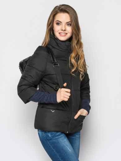 Черная куртка на силиконе с рукавом 3/4 - 12951, фото 2 – интернет-магазин Dressa