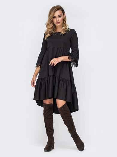 """Чёрное платье с удлиненной спинкой и рукавами """"колокол"""" 42250, фото 1"""
