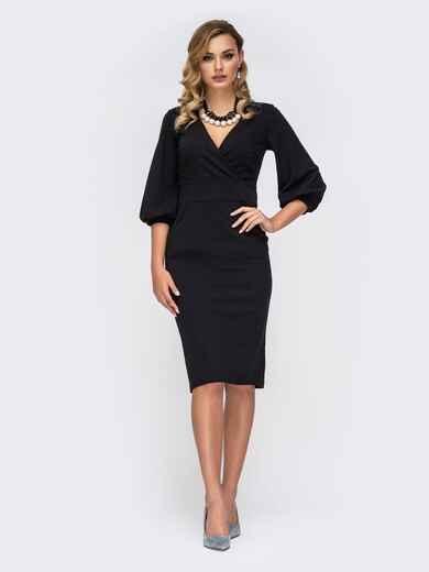 Чёрное платье с V-образным вырезом и карманами 42252, фото 1