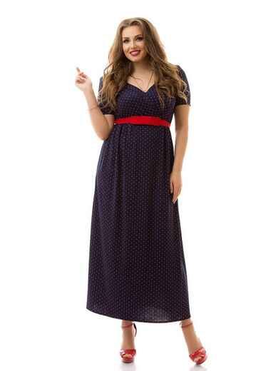 Длинное платье батал в горох с фигурным вырезом тёмно-синее 46443, фото 1