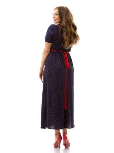 Длинное платье батал в горох с фигурным вырезом тёмно-синее 46443, фото 2