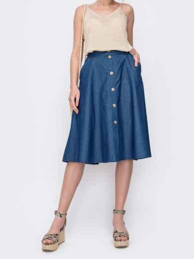 Джинсовая юбка-трапеция на пуговицах синяя 46983, фото 1