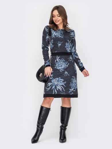 Принтованное платье с лампасами и юбкой-трапецией черное 52937, фото 1
