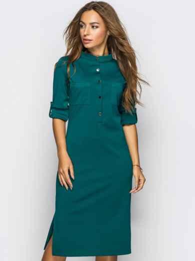 Платье полуприталенного кроя с функциональными шлевками зелёное 13805, фото 1