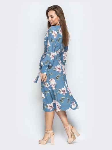 Голубое платье на запах с принтом - 21093, фото 3 – интернет-магазин Dressa