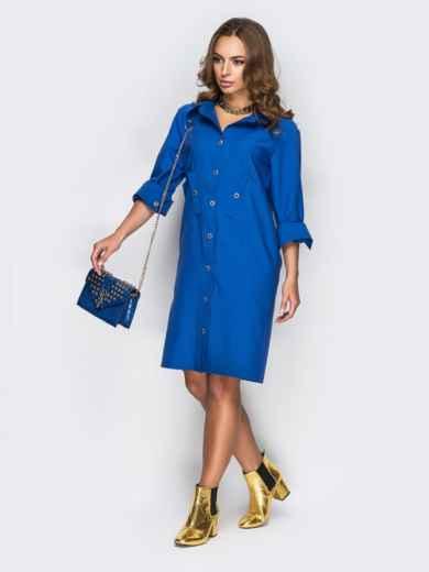 Голубое платье-рубашка с необычными карманами на полочке1 - 11169, фото 2 – интернет-магазин Dressa
