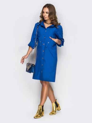 Голубое платье-рубашка с необычными карманами на полочке1 - 11169, фото 3 – интернет-магазин Dressa