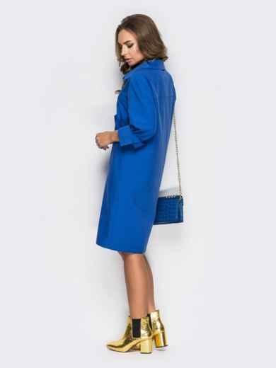 Голубое платье-рубашка с необычными карманами на полочке1 - 11169, фото 4 – интернет-магазин Dressa