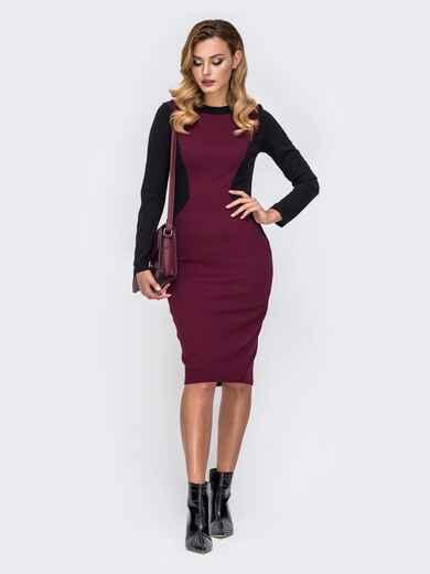 Обтягивающее платье-миди с контрастными вставками бордовое 42254, фото 1