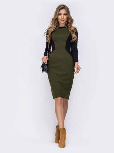 Обтягивающее платье-миди с контрастными вставками хаки 42255, фото 1